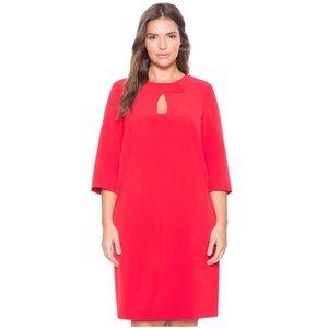 Eloquii Bright Red Keyhole Button Collar Dress